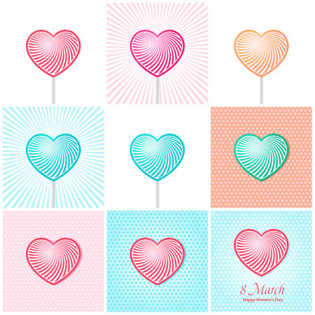 womans day: Womans day Vector cards set templates. Womens day cards labels or posters. Valentines Day gift cards. Woman day vector illustration. Love Womans day red backgrounds