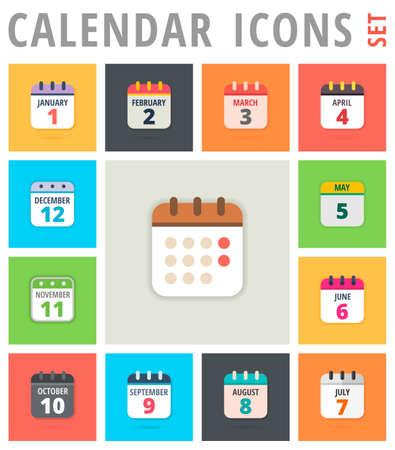 Iconos del calendario fijado - Calendario Los iconos del vector - Icono del calendario de la foto -