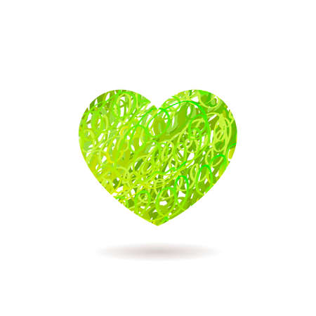 green heart: Hand drawn Heart symbol. Vector calligraphy Green Heart. Grunge Heart. Heart Shape. Distressed Heart. Heart Texture. Valentines Day Heart. March 8 Womens Day. Brush Stroke Heart. Lines Heart Background