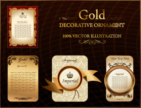 paper art: gold vitnage label decorative ornament. Vector illustration Illustration