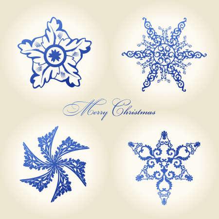 christmas decor: christmas snowflakes vector vintage decor blue decor Illustration