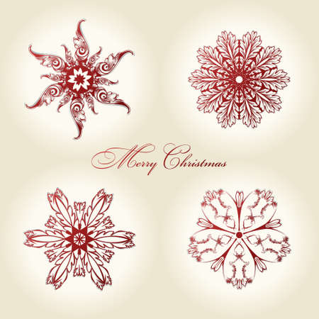 christmas decor: christmas snowflakes vector vintage decor red decor