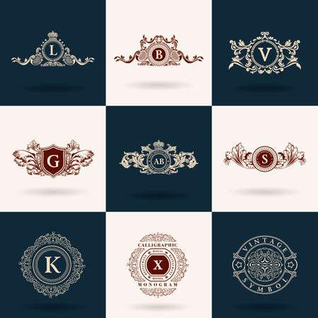 Luxury  monogram. Vintage royal flourishes elements. Calligraphic symbol ornament. Illustration