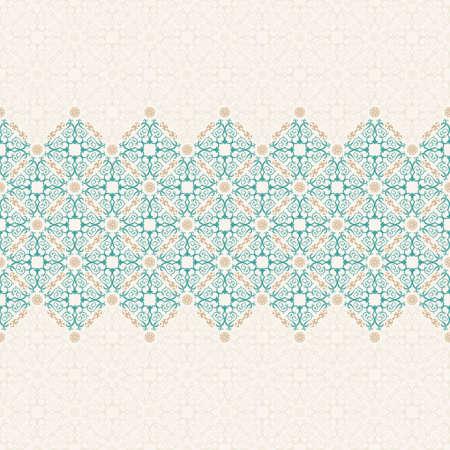 Wektor islam wzoru granicy. Jednolite wzór arabski ornament. Vintage orientalne elementy projektu w stylu wiktoriańskim. Ozdobne koronki luksusowe tło. Ozdobny kwiatowy wystrój tapety. Bez szwu tekstury Ilustracje wektorowe