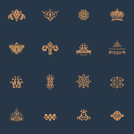 Luxe vintage logo set. Kalligrafische emblemen en elementen elegant decor. Vector ornament voor letter Logo