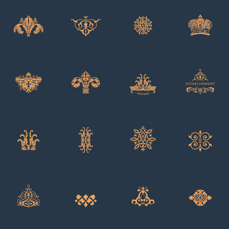 Luxury vintage logo set. Calligraphic emblems and elements elegant decor. Vector ornament for letter