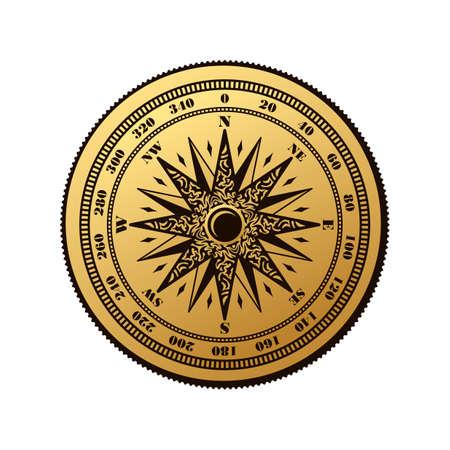 Vintage compass wind rose symbol. Compass logo. Compass rose, marine emblem with wind rose, retro ornament compass rose, vector illustration Illustration