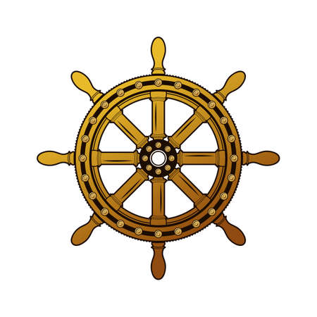 helm boat: timón de la nave de la vendimia. áspero adornado obsoleta shipswheel círculo goleta gran pasado de moda. Los vectores de color a mano alzada grunge dibujado estilo de la antigüedad fondo emblema de la pluma en el papel con el espacio para el texto Vectores