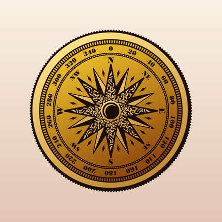 longitude: Vintage compass wind rose symbol. Compass . Compass rose, marine emblem with wind rose, retro ornament compass rose, vector illustration Illustration