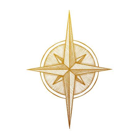 bussola: A mano bussola rosa dei venti simbolo. Vector viaggiatore strumento. illustrazione d'epoca