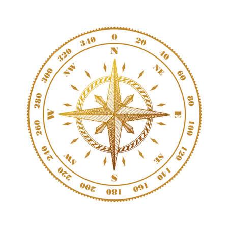 compass rose: Hand drawn compass wind rose symbol. Vector traveller tool. Vintage illustration