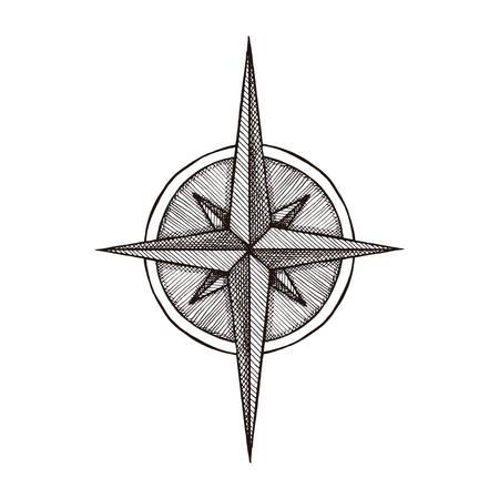 rosa de los vientos: Dibujado a mano del viento vientos símbolo rosa. herramienta que viaja del vector. ilustración de la vendimia