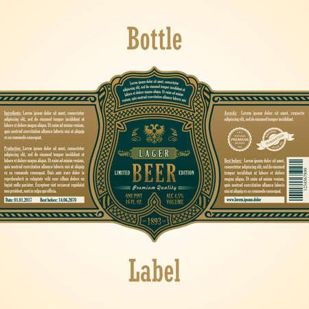 label Vintage frame. Or autocollant bouteille de bière. Design for étiquette, bannière, qualité supérieure de la vignette. Vector frame stiker pour bouteille et peut