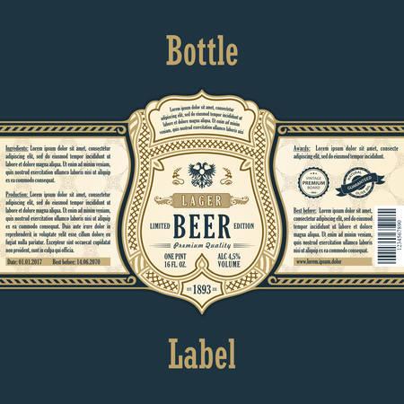 stiker: Vintage frame label. Gold sticker bottle beer. Design for label, banner, sticker premium quality. Vector frame stiker for bottle and can Illustration