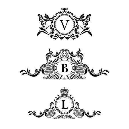 빈티지 로고 요소입니다. Fligishes 붓글씨 장식. 럭셔리 로고가 우아한 엠블럼 모노그램. 꽃 무늬 로얄 라인 로고 디자인. 벡터 로그인, 로고 레스토랑 부