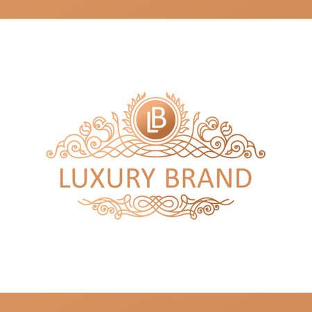 royal logo: Calligraphic Luxury line logo template. Flourishes calligraphic elegant emblem. Royal logo design. Gold logo decor for menu card invitation label, Restaurant, Cafe, Hotel. Vintage vector line symbol