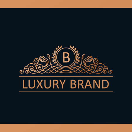 Kalligrafische Luxe lijn template. Bloeit kalligrafische elegant embleem. Royal design. Gouden decor voor menukaart uitnodiging label, restaurant, café, hotel. Vintage vector lijnsymbool Stock Illustratie