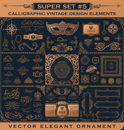 Calligraphic Design vintage Gold elements. Vector flourishes illustration set. Border frame collection royal ornament page decoration for menu card, invitations, labels, Restaurant, Cafe, Hotel Illustration