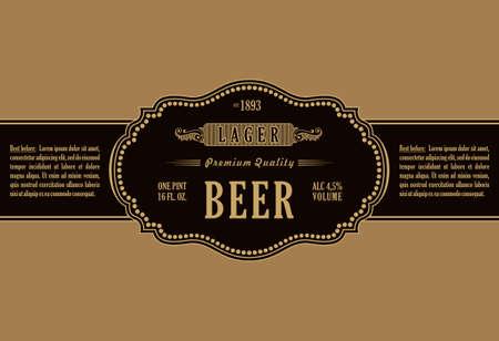 Marco de la vendimia etiqueta. botella de cerveza pegatina de oro. Diseño de etiqueta, bandera, de primera calidad para el parachoques. stiker Marco del vector de botella y lata