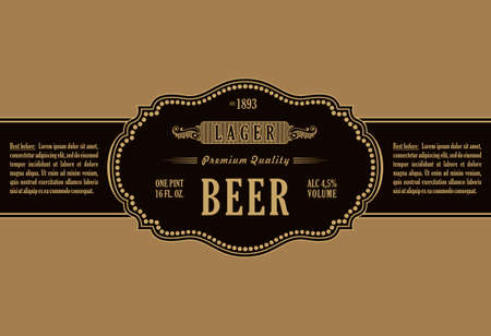 original: Vintage frame label. Gold sticker bottle beer. Design for label, banner, sticker premium quality. Vector frame stiker for bottle and can Illustration