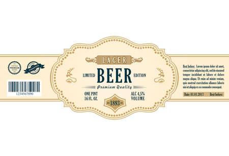 sticker vector: Vintage frame label. Gold sticker bottle beer. Design for label, banner, sticker premium quality. Vector frame stiker for bottle and can Illustration
