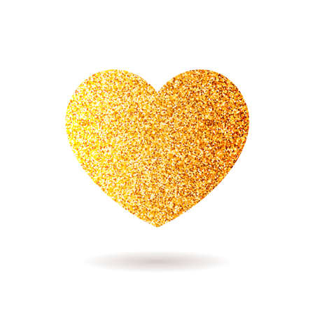 glitter heart: Gold vector glitter heart. Valentines day love design card poster postcard background