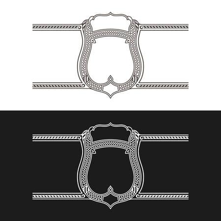 stiker: Vintage frame label. Black and white stickers bottle. Design for label, banner, sticker premium quality. Vector frame stiker for bottle and can Illustration