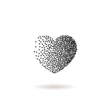 heart background: Vector heart shape snow. Black dots and confetti heart. Symbol and heart. Winter Valentines day snow heart with dots or flakes of various size. New Year, Christmas black and white background.