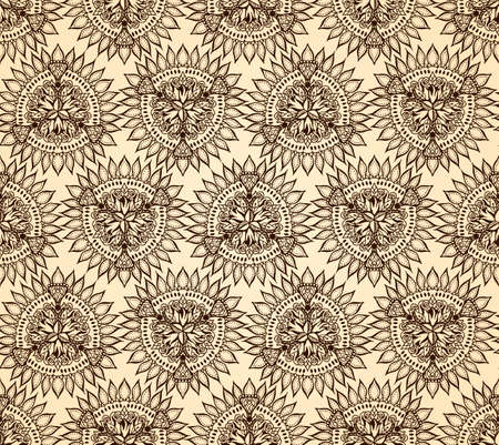 tail fan: Vector abstract seamless floral geometric background beige and black shaped ornate elements with ethnic patterns. Style flowers mandala pattern in vintage design