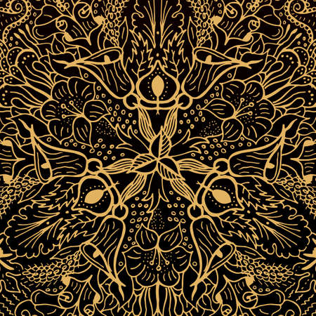 gold ornament: Vector abstract floral geometric background gold and black shaped ornate elements with ethnic patterns. Style flowers mandala pattern in vintage design