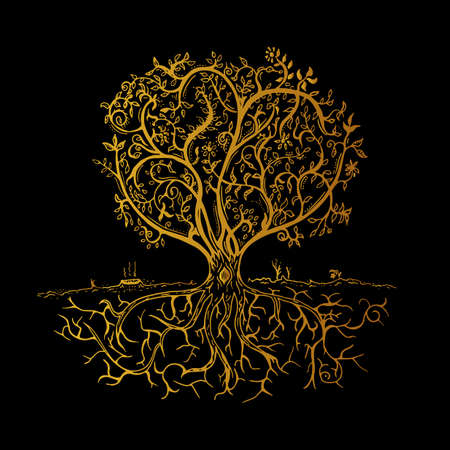 tree outline: Hand drawn gold tree isolated sketch in vintage style. Vector illustration in black background