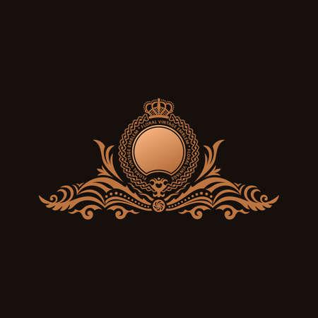 royal frame: Calligraphic Luxury line logo template. Flourishes calligraphic elegant emblem. Royal logo design. Gold logo decor for menu card invitation label, Restaurant, Cafe, Hotel. Vintage vector line symbol