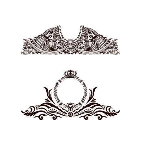art logo: Calligraphic Luxury line logo template. Flourishes calligraphic elegant emblem. Royal logo design. Gold logo decor for menu card invitation label, Restaurant, Cafe, Hotel. Vintage vector line symbol