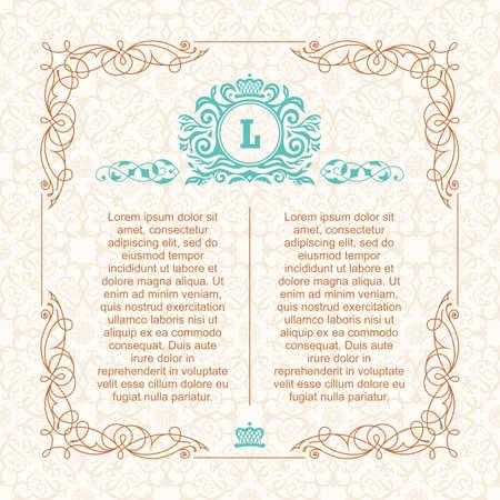 Calligraphic border frame. Design template for wedding greeting card, invitation, menu, label. Graphic design page. Monogram on vector background. Illustration