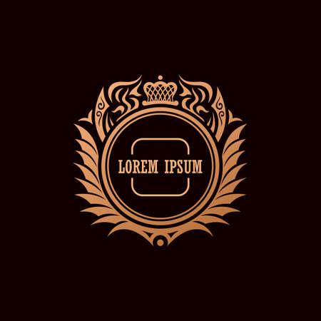 Calligraphic Luxury crown line logo. Flourishes calligraphic elegant emblem. Royal logo design. Gold logo decor for menu card invitation label, Restaurant, Cafe, Hotel. Vintage vector line symbol