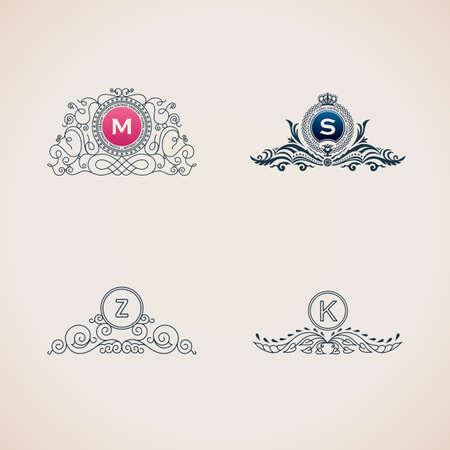 s m: Calligraphic flourishes luxury monogram set. Line frame template logo for emblem. Patterns for design calligraphic menu, restaurant cafe, invitations, cards. Vintage vector line symbols M, S, Z, K Illustration