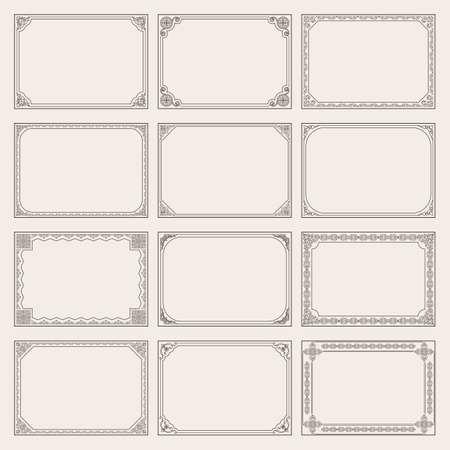 Decorative vector vintage frames and borders set. Baroque decorative frames