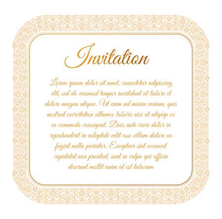 东方金框阿拉伯矢量线设计模板。穆斯林东方花卉框架的卡片和明信片宰牲节。斋月线性装饰的信息,菜单,明信片,餐厅,婚礼邀请