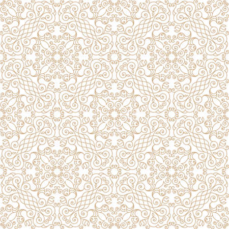 victorian pattern: Vector seamless gold pattern with art ornament. Vintage elements for design in Victorian style. Ornamental lace tracery background. Ornate floral decor for wallpaper. Endless texture Illustration