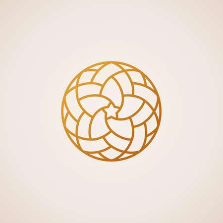 Geometric round Eastern star logo. Vector circular arabic ornamental symbol. Islam floral element for design