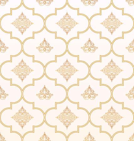 Vector naadloos gouden en wit patroon met kunstornament. Vintage elementen voor ontwerp in Oost-stijl. Sierkantachtergrond. Sierlijke bloemendecor voor behang. Eindeloze textuur