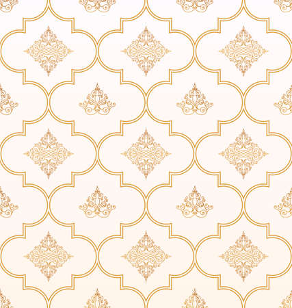 gold ornament: Vector seamless gold and white pattern with art ornament. Vintage elements for design in Eastern style. Ornamental lace background. Ornate floral decor for wallpaper. Endless texture