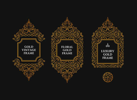 frame vintage: Arabic vector set of frames and lines of art design template. Muslim gold outline elements and emblems. Eastern floral frame. Logos line pattern for menu, postcard, restaurant, wedding invitation