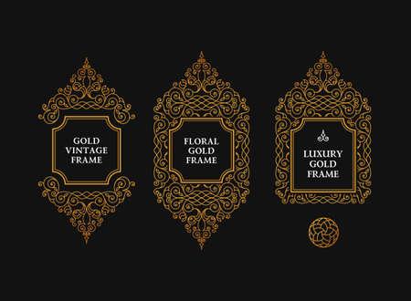 vector conjunto árabe de tramas y líneas de diseño de la plantilla del arte. oro musulmanes elementos de contorno y emblemas. Marco floral oriental. patrón de líneas logotipos para el menú, tarjetas postales, restaurante, invitación de la boda