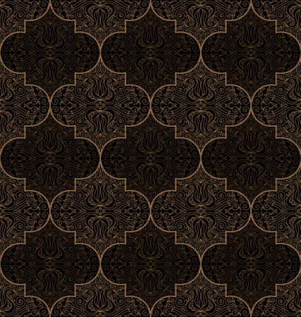 floral pattern motif: Vector seamless gold and black pattern with art ornament. Vintage elements for design in Eastern style. Ornamental lace background. Ornate floral decor for wallpaper. Endless texture