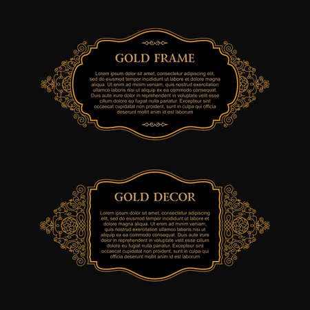 line art: Eastern gold frame arabic vector lines design templates. Muslim Eastern floral frame for card and postcard Eid al-Adha. Ramadan linear decor for message, menu, postcard, restaurant, wedding invitation