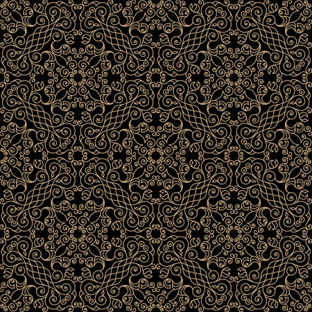 gold ornament: Vector seamless gold and black pattern with art ornament. Vintage elements for design in Eastern style. Ornamental lace background. Ornate floral decor for wallpaper. Endless texture