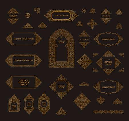 decorative pattern: Arabic set of frames and lines of art design template. Muslim gold outline elements and emblems. Eastern floral frame. line pattern for menu, mosque, arch, restaurant, wedding invitation