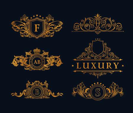 Uitstekende gouden Elements. Bloeit kalligrafische Ornament. Elegant embleem monogram luxe. Bloemen koninklijke lijn design. teken, restaurant boutique, heraldisch mode, cafe hotel Stock Illustratie