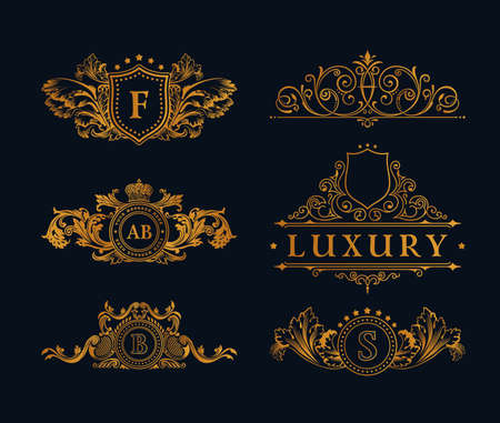 royals: Vintage gold Elements. Flourishes Calligraphic Ornament. Elegant emblem monogram luxury . Floral royal line design. sign, restaurant boutique, heraldic fashion, cafe hotel Illustration